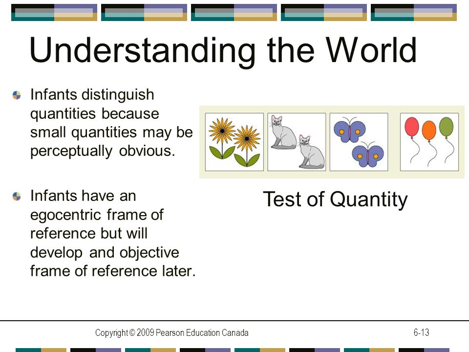 Copyright © 2009 Pearson Education Canada6-13 Understanding the World Infants distinguish quantities because small quantities may be perceptually obvious.