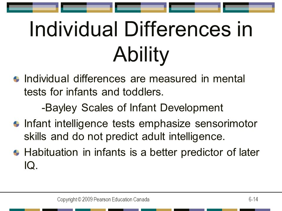 Copyright © 2009 Pearson Education Canada6-14 Individual Differences in Ability Individual differences are measured in mental tests for infants and toddlers.