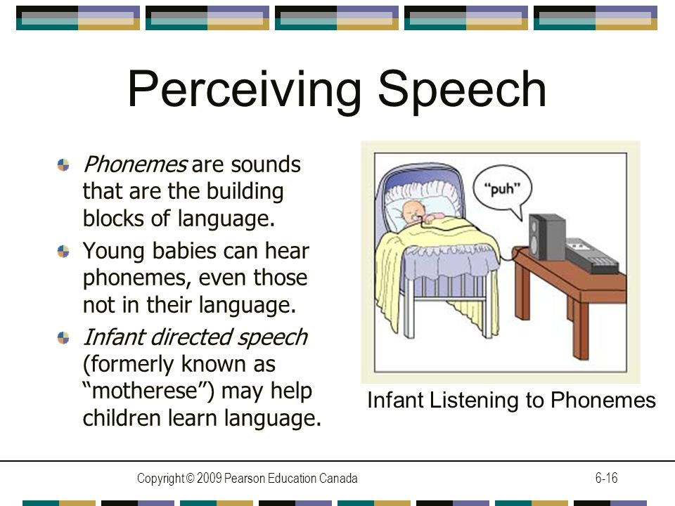 Copyright © 2009 Pearson Education Canada6-16 Perceiving Speech Phonemes are sounds that are the building blocks of language.