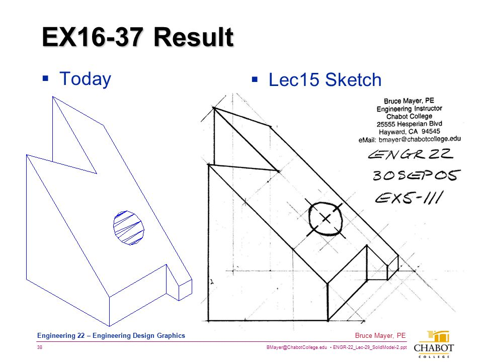 BMayer@ChabotCollege.edu ENGR-22_Lec-29_SolidModel-2.ppt 38 Bruce Mayer, PE Engineering 22 – Engineering Design Graphics EX16-37 Result  Today  Lec15 Sketch