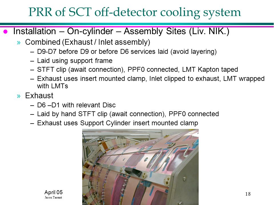 April 05 Jason Tarrant CCLRC18 PRR of SCT off-detector cooling system l Installation – On-cylinder – Assembly Sites (Liv.