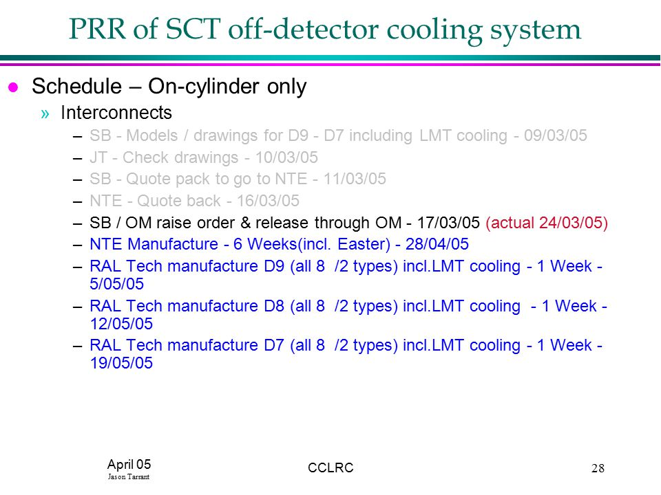 April 05 Jason Tarrant CCLRC28 PRR of SCT off-detector cooling system l Schedule – On-cylinder only »Interconnects –SB - Models / drawings for D9 - D7 including LMT cooling - 09/03/05 –JT - Check drawings - 10/03/05 –SB - Quote pack to go to NTE - 11/03/05 –NTE - Quote back - 16/03/05 –SB / OM raise order & release through OM - 17/03/05 (actual 24/03/05) –NTE Manufacture - 6 Weeks(incl.