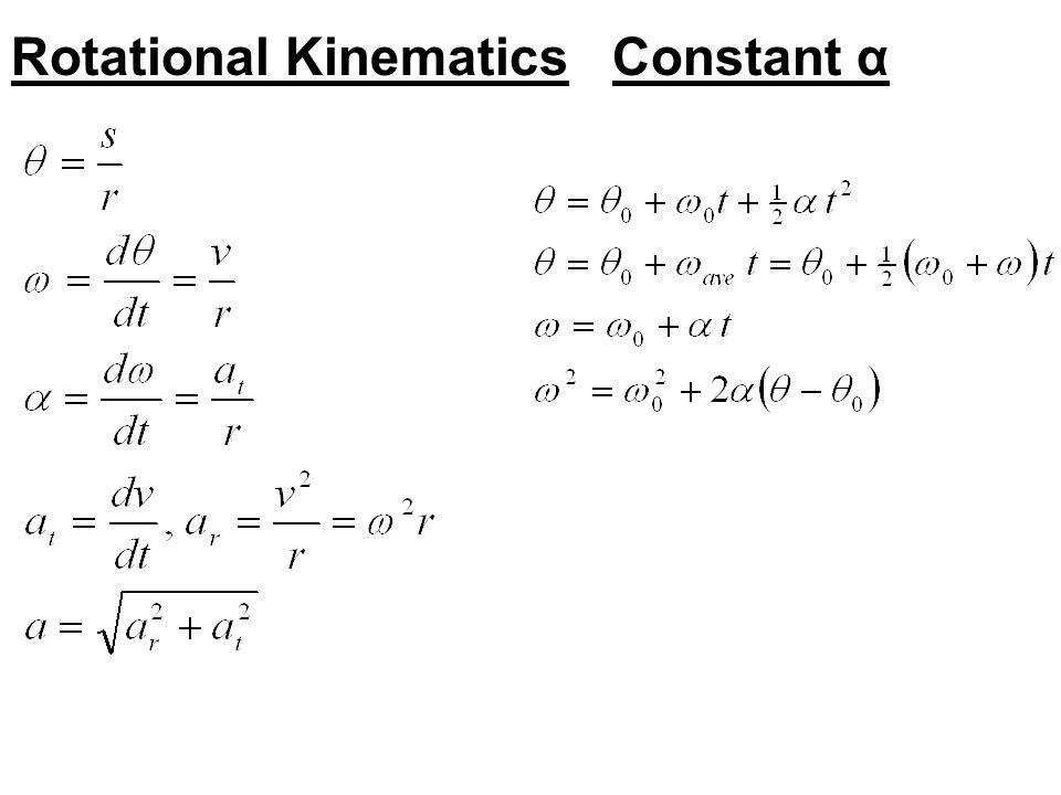 Rotational KinematicsConstant α