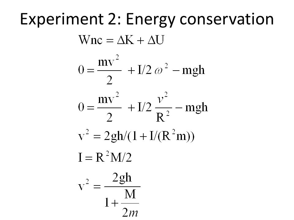 Experiment 2: Energy conservation