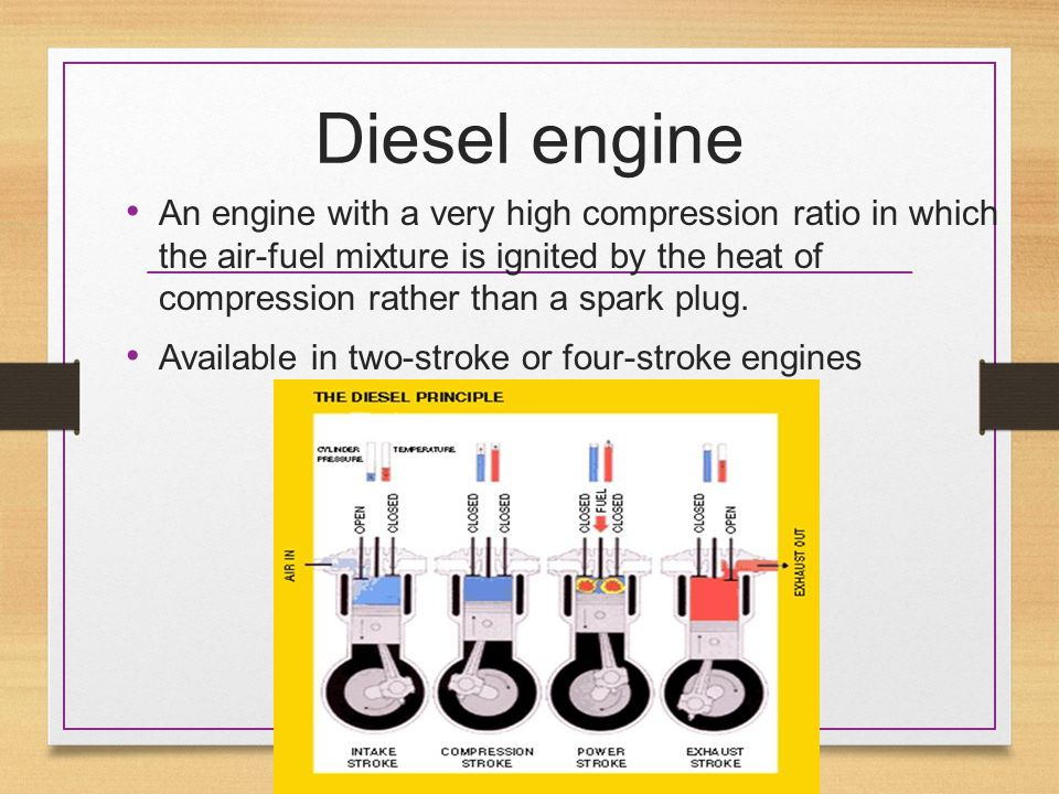 Diesel engine An engine with a very high compression ratio in which the air-fuel mixture is ignited by the heat of compression rather than a spark plu