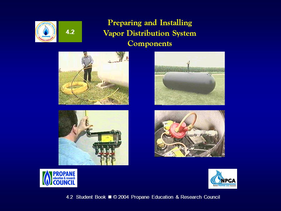 4.2 Student Book © 2004 Propane Education & Research Council Preparing and Installing Vapor Distribution System Components 4.2