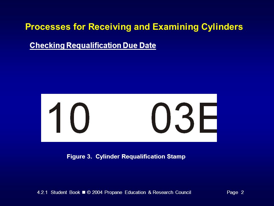 4.2.1 Student Book © 2004 Propane Education & Research CouncilPage 2 Processes for Receiving and Examining Cylinders Checking Requalification Due Date Figure 3.