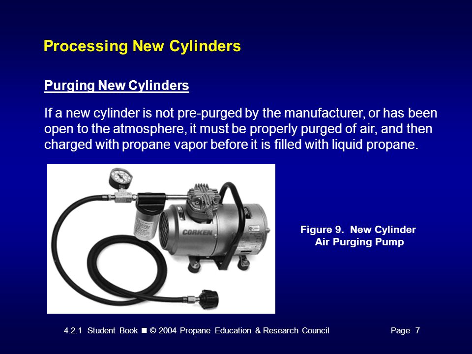 4.2.1 Student Book © 2004 Propane Education & Research CouncilPage 7 Processing New Cylinders Purging New Cylinders If a new cylinder is not pre-purged by the manufacturer, or has been open to the atmosphere, it must be properly purged of air, and then charged with propane vapor before it is filled with liquid propane.