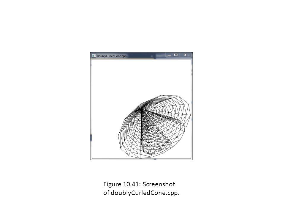 Figure 10.41: Screenshot of doublyCurledCone.cpp.