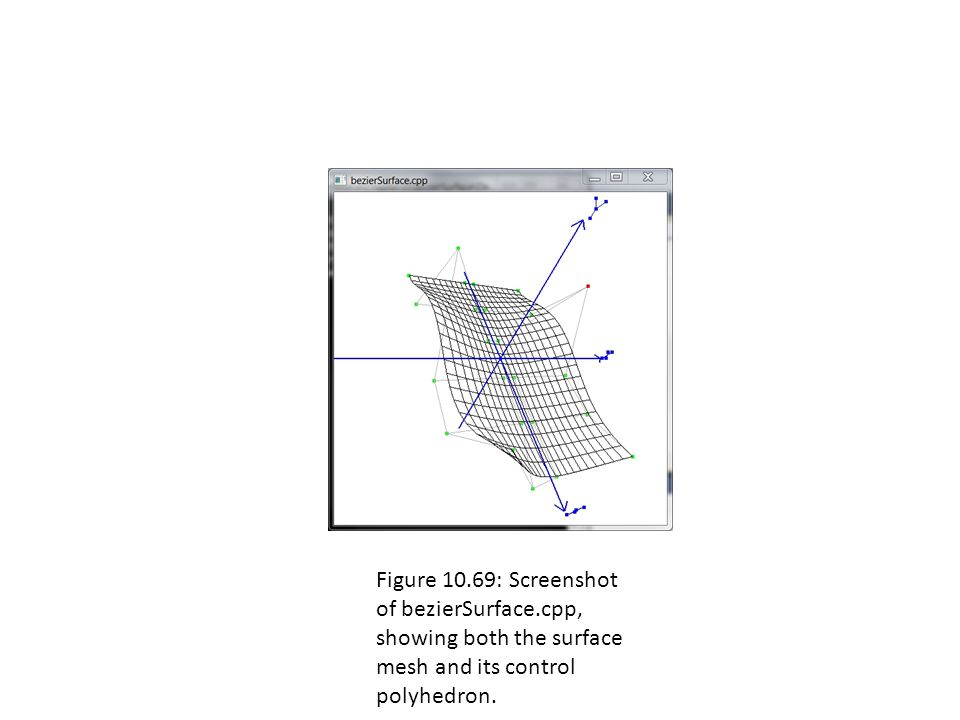 Figure 10.69: Screenshot of bezierSurface.cpp, showing both the surface mesh and its control polyhedron.