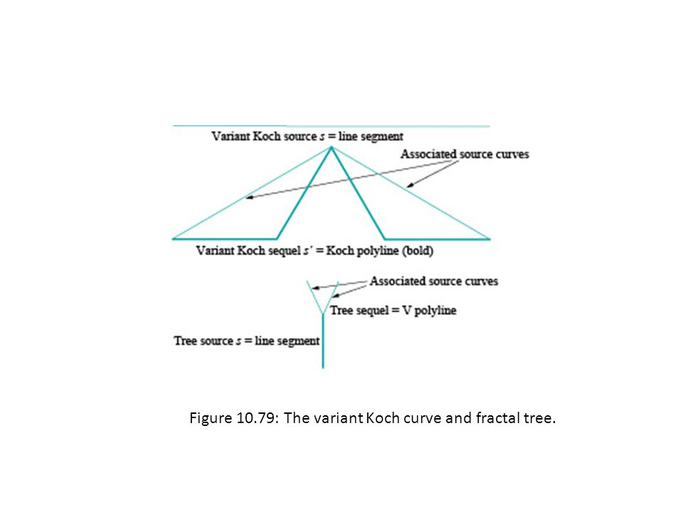 Figure 10.79: The variant Koch curve and fractal tree.