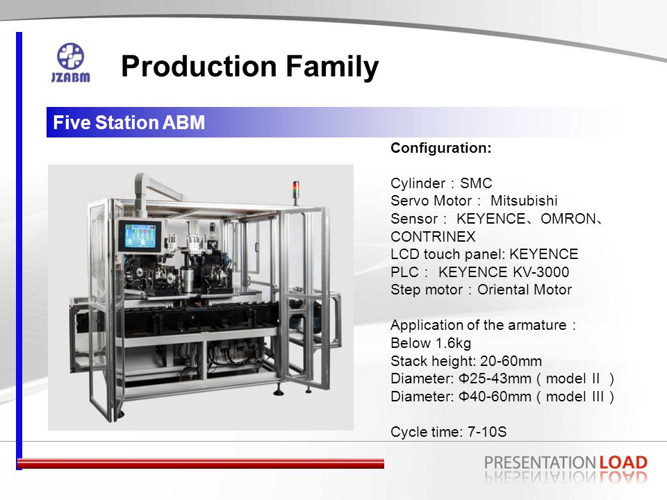Two station Ⅳ Type Production Family Configuration: Cylinder : SMC Servo Motor : Mitsubishi Sensor : KEYENCE 、 OMRON 、 CONTRINEX LCD touch panel: KEYENCE PLC : KEYENCE KV-1000 Step motor : Oriental Motor Application of the armature : Below 3kg Stack height: 30-100mm Diameter: Ф60-90mm Cycle time: 18-25S