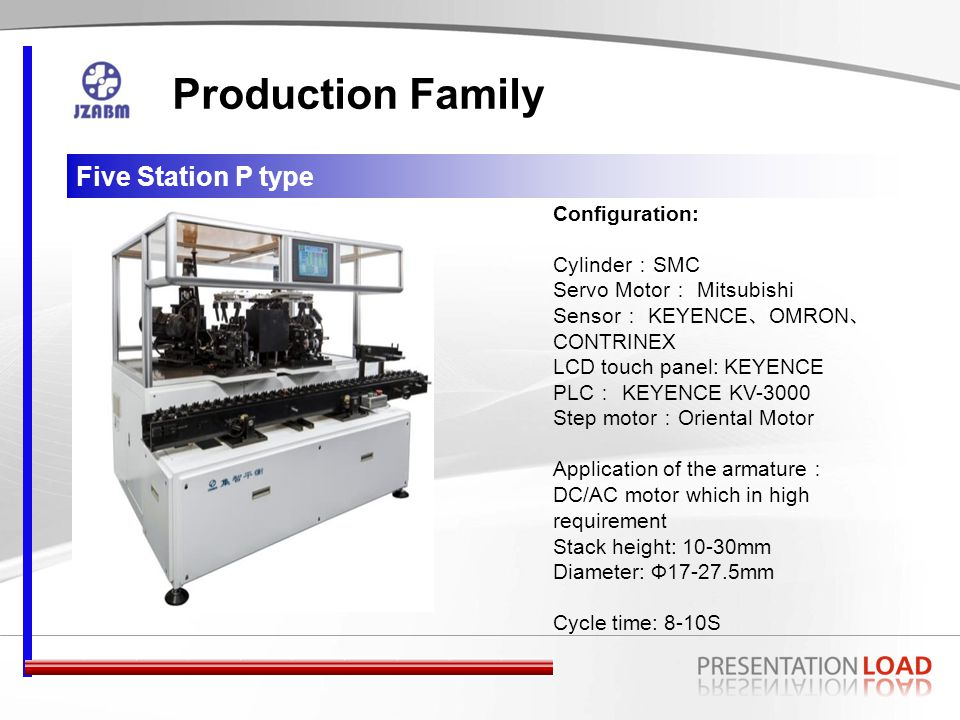 Five Station I type Production Family Configuration: Cylinder : SMC Servo Motor : Mitsubishi Sensor : KEYENCE 、 OMRON 、 CONTRINEX LCD touch panel: KEYENCE PLC : KEYENCE KV-3000 Step motor : Oriental Motor Application of the armature : 3,5,7 serial DC motor Stack height: 12-30mm Diameter: Ф17-27.5mm Cycle time: 5-8S