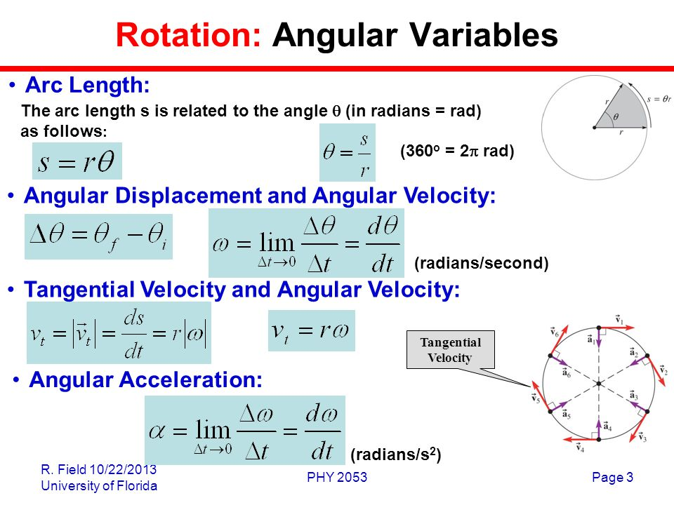 R. Field 10/22/2013 University of Florida PHY 2053Page 3 Rotation: Angular Variables The arc length s is related to the angle  (in radians = rad) as