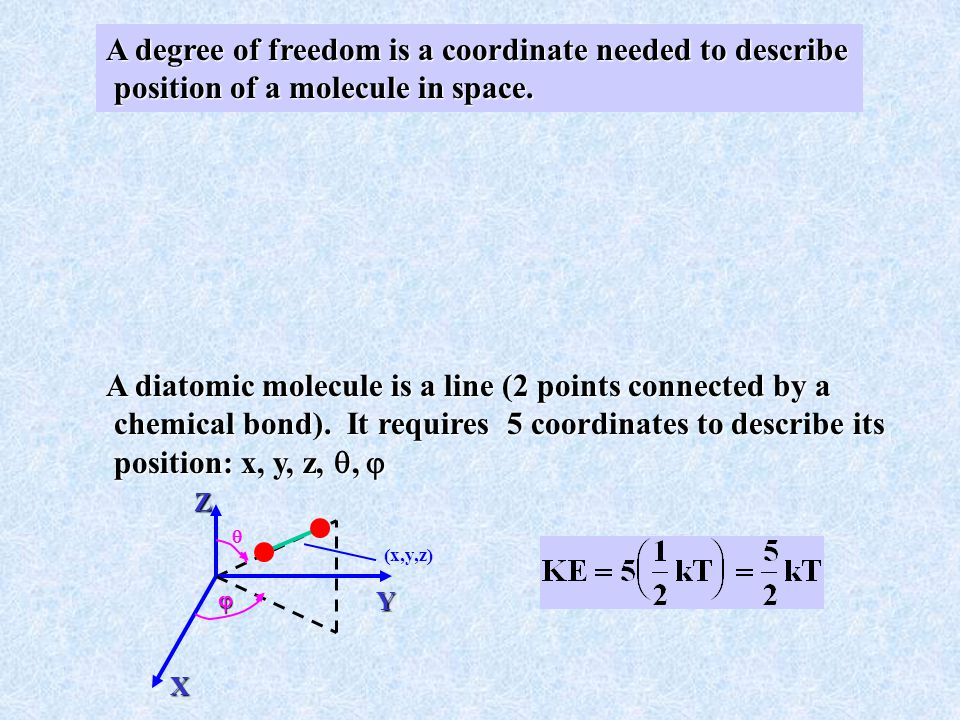A degree of freedom is a coordinate needed to describe position of a molecule in space.
