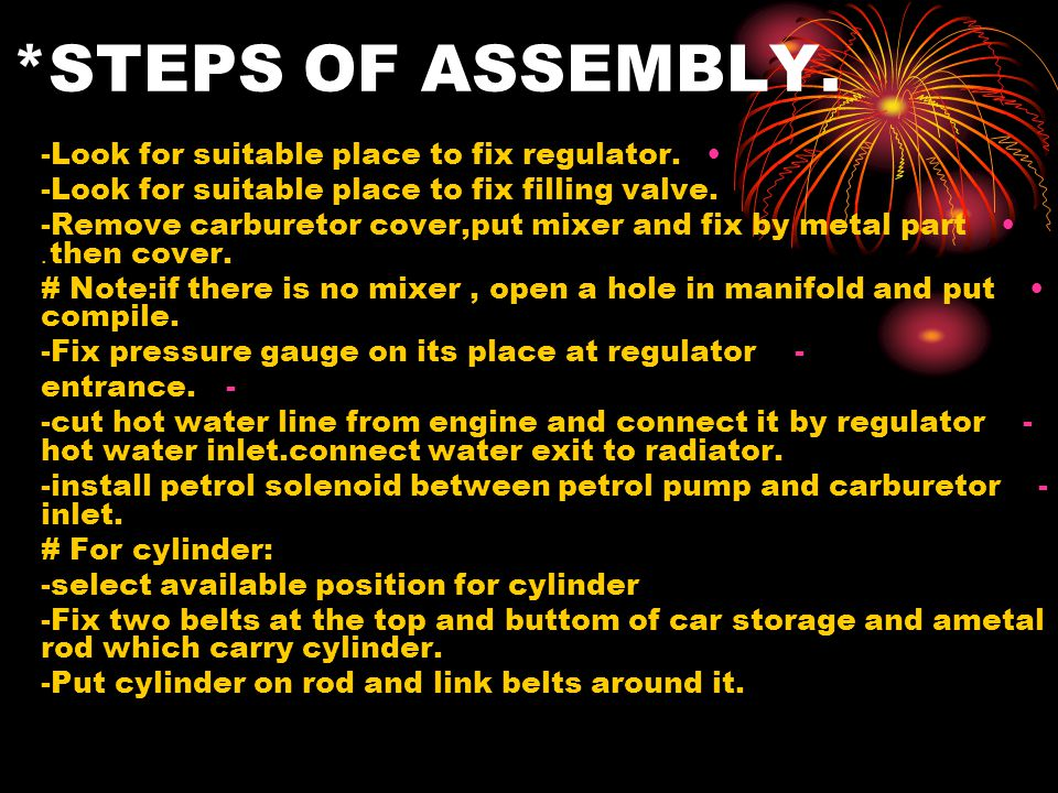 *STEPS OF ASSEMBLY. -Look for suitable place to fix regulator.