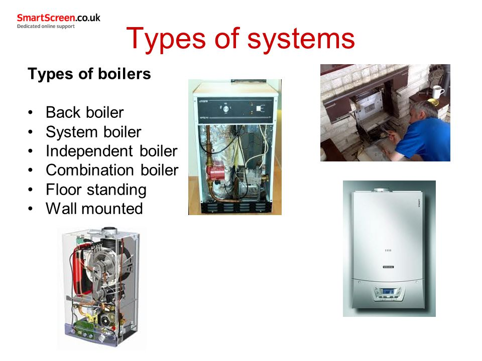 Types of systems Types of boilers Back boiler System boiler Independent boiler Combination boiler Floor standing Wall mounted