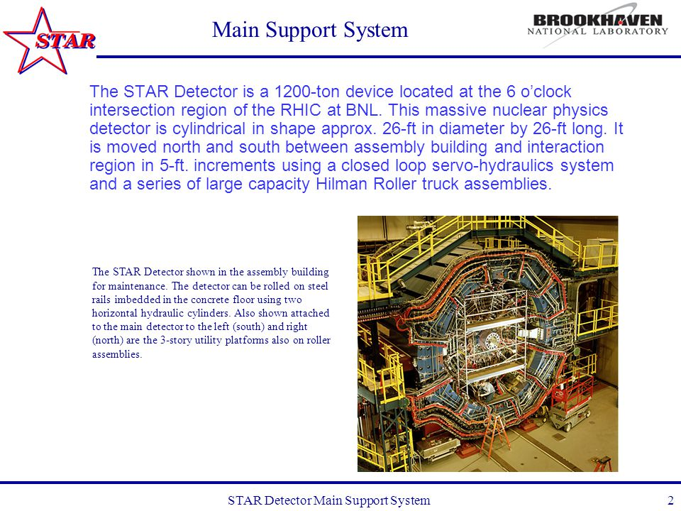 STAR Detector Main Support System13 Main Support System What's next: Contact hydraulic system vendor, Atlantic Industrial Technologies, to discuss possible issues related to motion control system.
