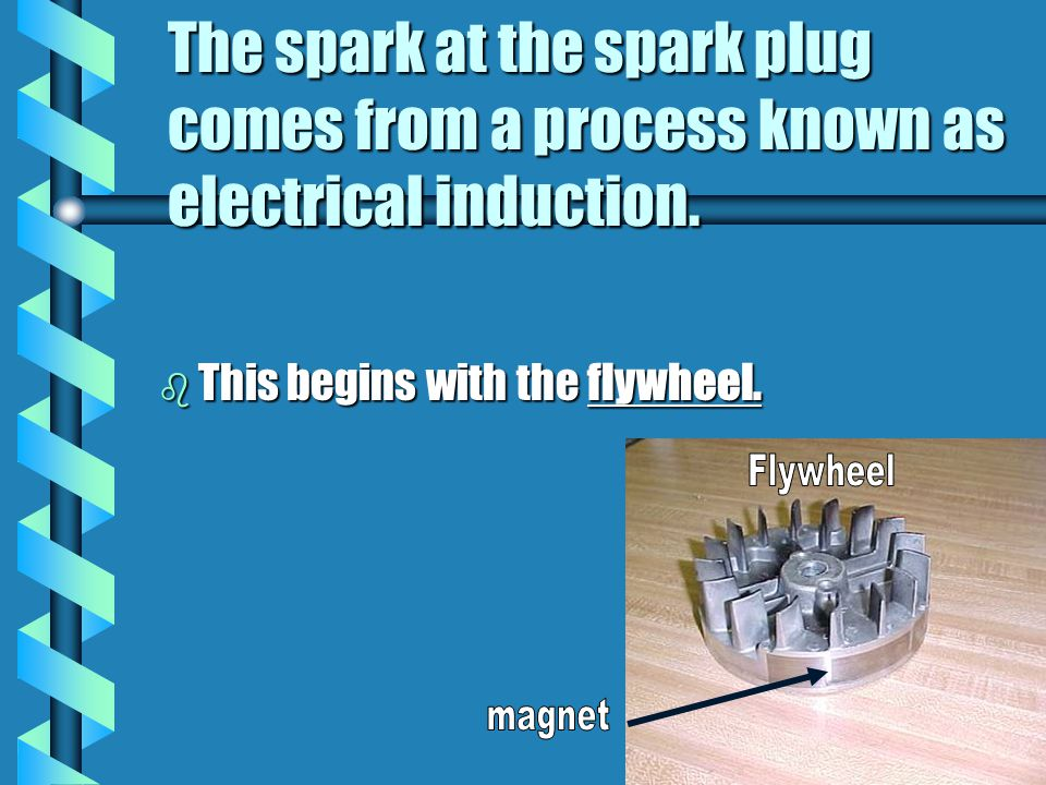 The spark at the spark plug comes from a process known as electrical induction.
