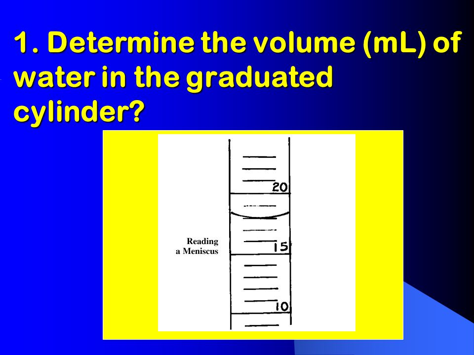 1. Determine the volume (mL) of water in the graduated cylinder?