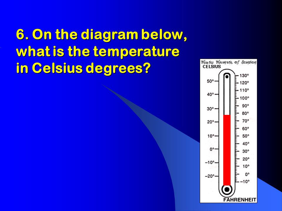 6. On the diagram below, what is the temperature in Celsius degrees.