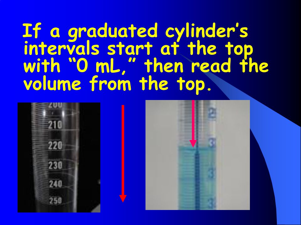 If a graduated cylinder's intervals start at the top with 0 mL, then read the volume from the top.