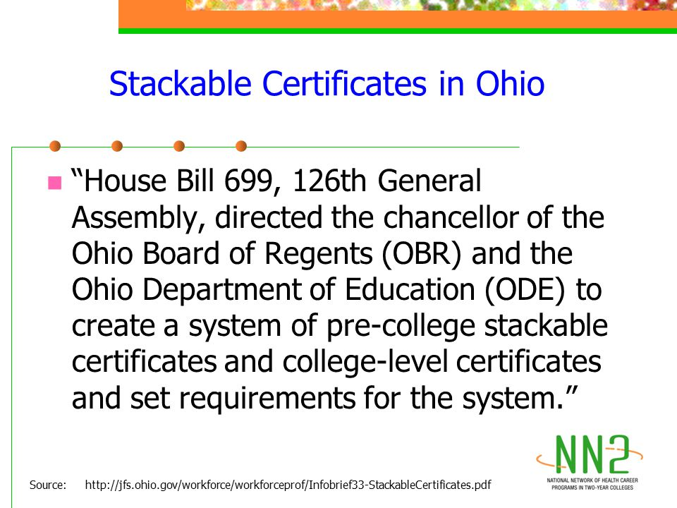 "Stackable Certificates in Ohio ""House Bill 699, 126th General Assembly, directed the chancellor of the Ohio Board of Regents (OBR) and the Ohio Depart"