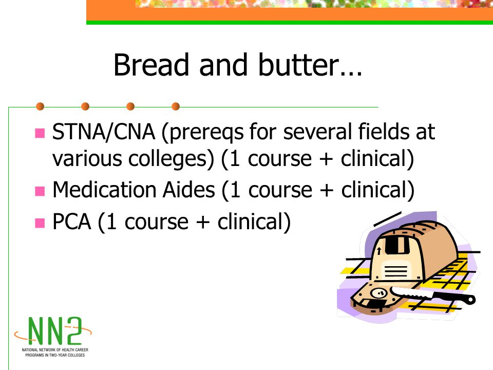 Bread and butter… STNA/CNA (prereqs for several fields at various colleges) (1 course + clinical) Medication Aides (1 course + clinical) PCA (1 course