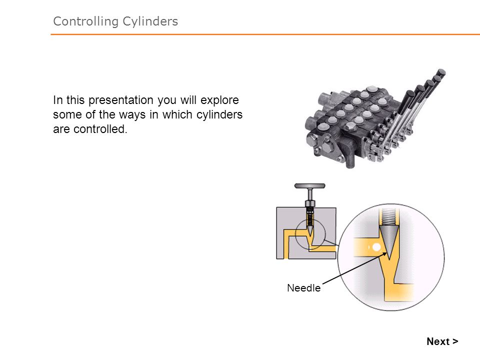 Controlling Cylinders Next > In this presentation you will explore some of the ways in which cylinders are controlled. Needle