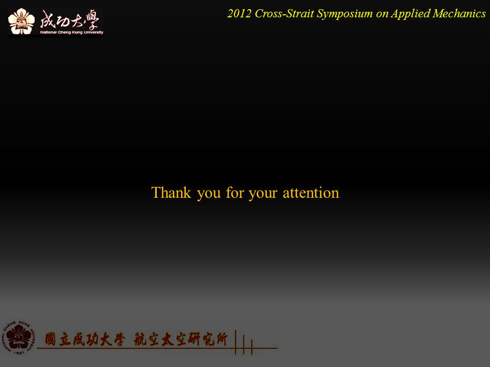 2012 Cross-Strait Symposium on Applied Mechanics Thank you for your attention