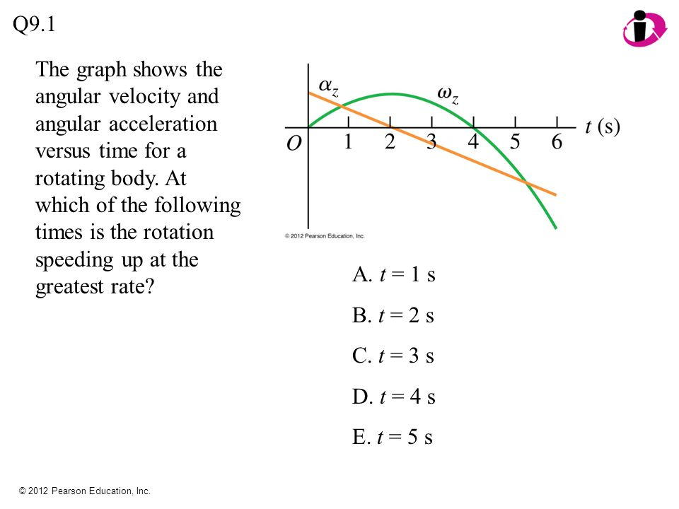© 2012 Pearson Education, Inc.A. a faster linear speed and a faster angular speed.