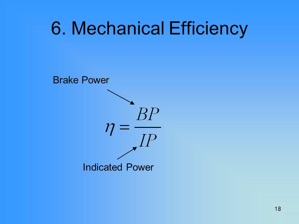 18 6. Mechanical Efficiency Brake Power Indicated Power