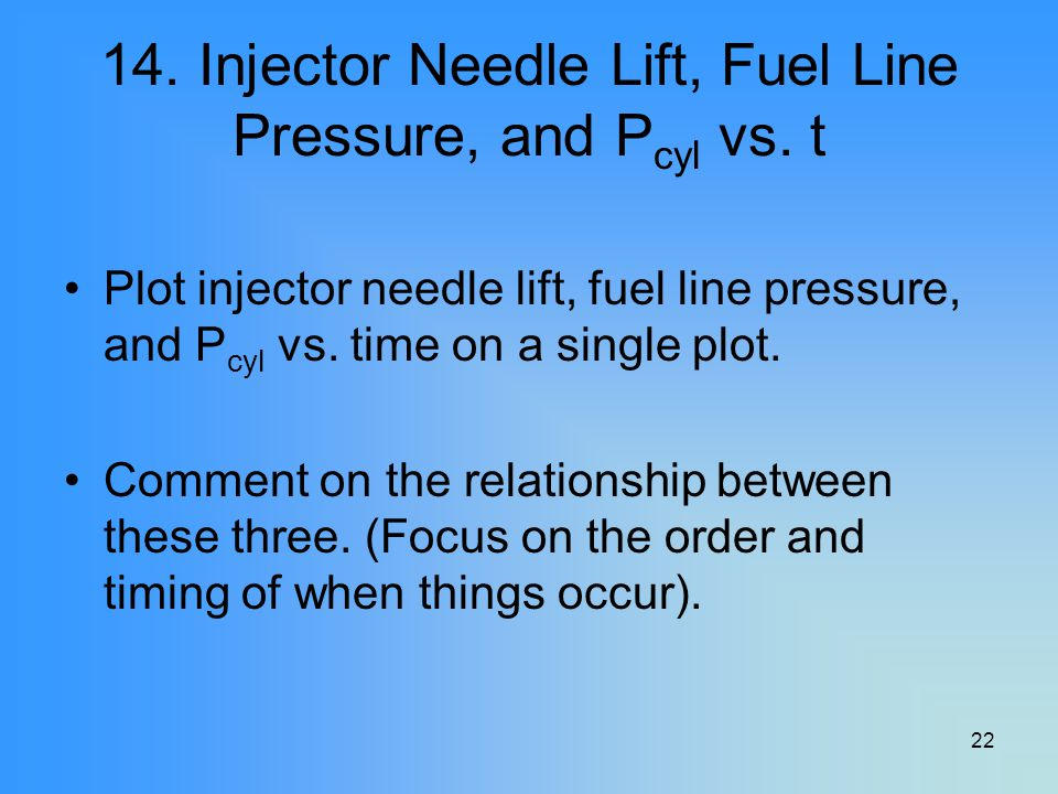 22 14. Injector Needle Lift, Fuel Line Pressure, and P cyl vs. t Plot injector needle lift, fuel line pressure, and P cyl vs. time on a single plot. C