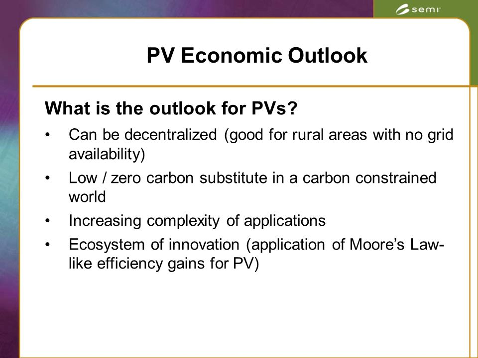 What is the outlook for PVs.