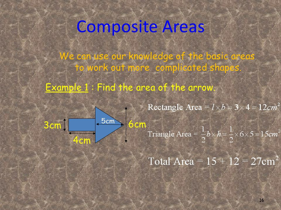 16 Composite Areas We can use our knowledge of the basic areas to work out more complicated shapes.