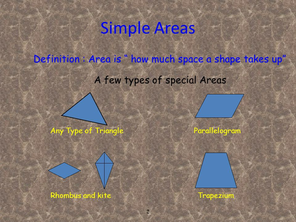 2 Simple Areas Definition : Area is how much space a shape takes up A few types of special Areas TrapeziumRhombus and kite ParallelogramAny Type of Triangle