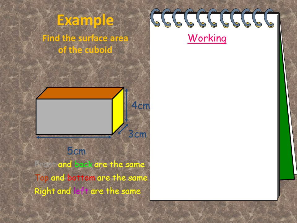 Front Area = l x b = 5 x 4 =20cm 2 Example Find the surface area of the cuboid Working 5cm 4cm 3cm Top Area = l x b = 5 x 3 =15cm 2 Side Area = l x b = 3 x 4 =12cm 2 Total Area = 20+20+15+15+12+12 = 94cm 2 Front and back are the same Top and bottom are the same Right and left are the same