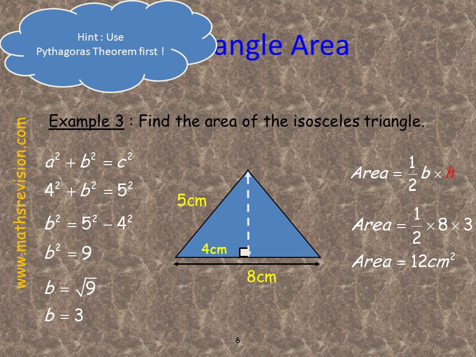 7 Parallelogram Area b Important NOTE h = vertical height h