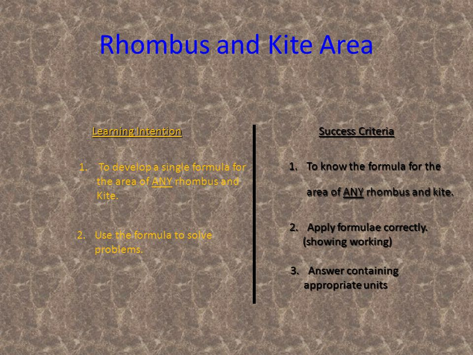 Learning Intention Success Criteria 1.To know the formula for the area of ANY rhombus and kite.