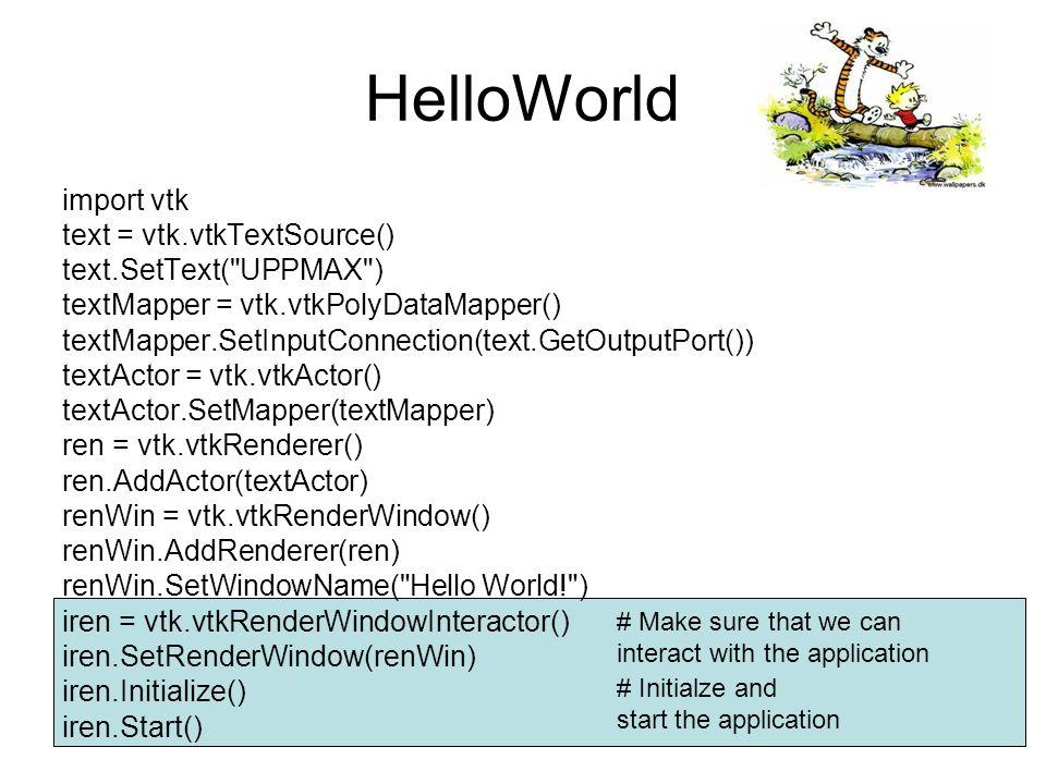 # Create the RenderWindow,Renderer and Interator ren = vtk.vtkRenderer() ren.AddActor(ballActor) ren.AddActor(arrowActor) ren.SetBackground(0.2, 0.2, 0.3) renWin = vtk.vtkRenderWindow() renWin.AddRenderer(ren) renWin.SetWindowName( Balls and Arrows from a VTK file ) renWin.SetSize(600,600) iren = vtk.vtkRenderWindowInteractor() iren.SetRenderWindow(renWin) iren.Initialize() iren.Start() As usual...