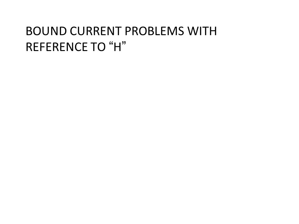 BOUND CURRENT PROBLEMS WITH REFERENCE TO H