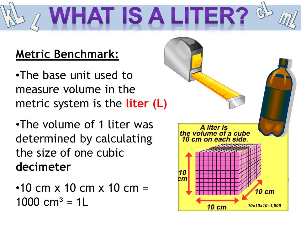 Metric Benchmark: The base unit used to measure volume in the metric system is the liter (L) The volume of 1 liter was determined by calculating the s