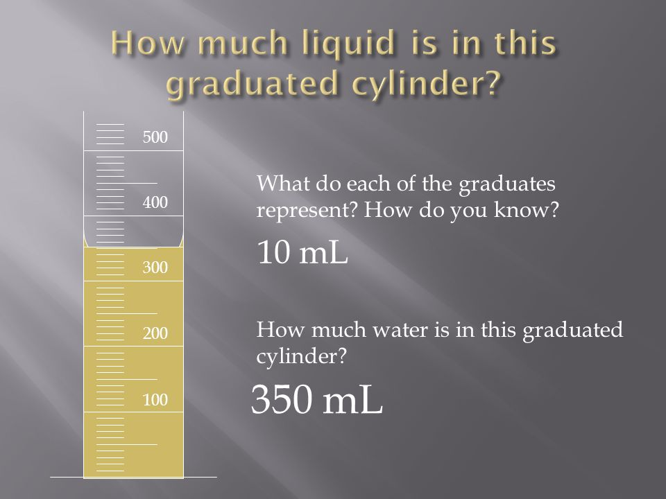 500 400 300 200 100 What do each of the graduates represent? How do you know? How much water is in this graduated cylinder? 350 mL 10 mL