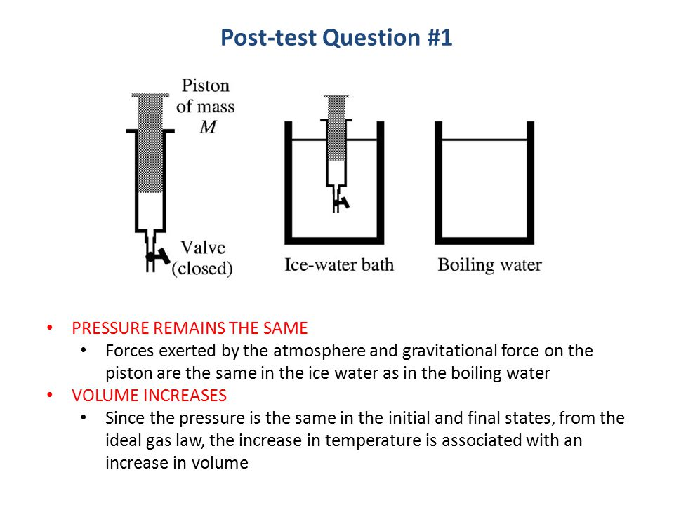 PRESSURE REMAINS THE SAME Forces exerted by the atmosphere and gravitational force on the piston are the same in the ice water as in the boiling water VOLUME INCREASES Since the pressure is the same in the initial and final states, from the ideal gas law, the increase in temperature is associated with an increase in volume Post-test Question #1