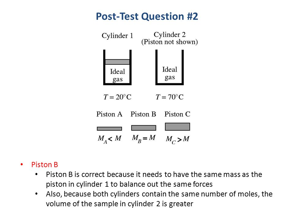 Piston B Piston B is correct because it needs to have the same mass as the piston in cylinder 1 to balance out the same forces Also, because both cylinders contain the same number of moles, the volume of the sample in cylinder 2 is greater Post-Test Question #2