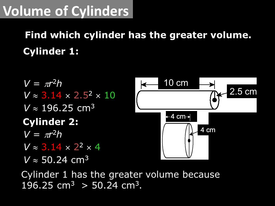Find which cylinder has the greater volume.