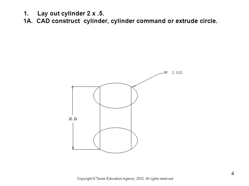 4 1. Lay out cylinder 2 x.5. 1A. CAD construct cylinder, cylinder command or extrude circle.