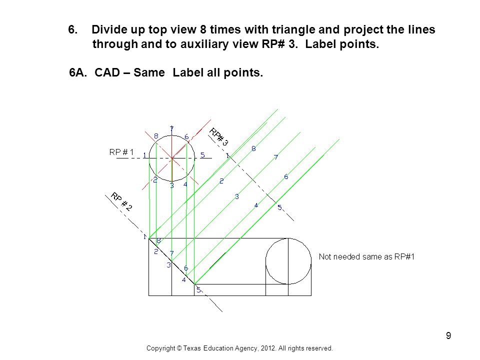 9 6. Divide up top view 8 times with triangle and project the lines through and to auxiliary view RP# 3. Label points. 6A. CAD – Same Label all points
