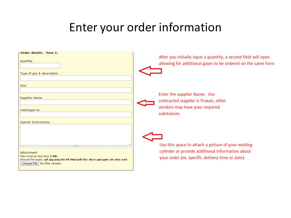 Enter your order information