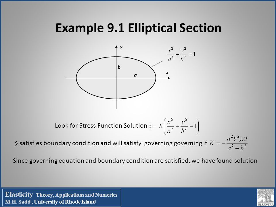 Example 9.1 Elliptical Section x y a b Look for Stress Function Solution  satisfies boundary condition and will satisfy governing governing if Since